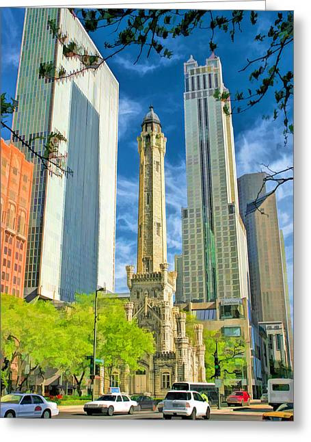 Chicago Water Tower Shopping Greeting Card by Christopher Arndt