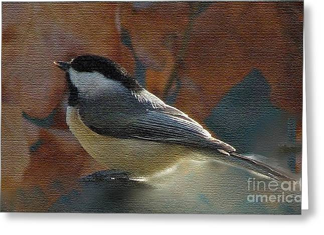 Greeting Card featuring the photograph Chickadee In Autumn by Janette Boyd