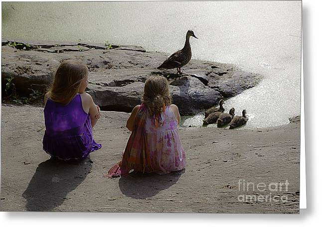 Children At The Pond 3 Greeting Card