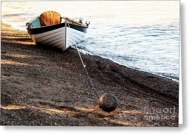China Beach Rowboat Greeting Card