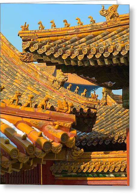 China Forbidden City Roof Decoration Greeting Card by Sebastian Musial