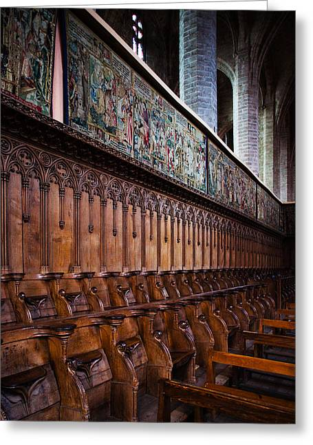 Choir Stalls At Abbatiale Saint-robert Greeting Card by Panoramic Images