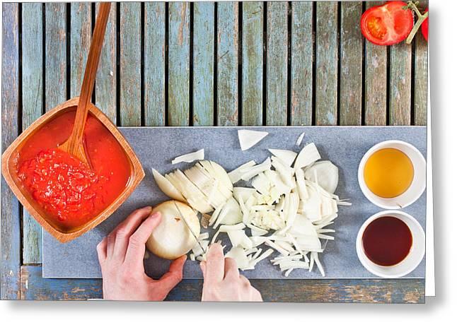Chopping Onions Greeting Card
