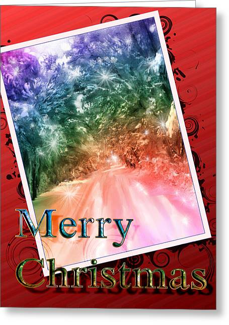 Merry Christmas Lighted Path Greeting Card