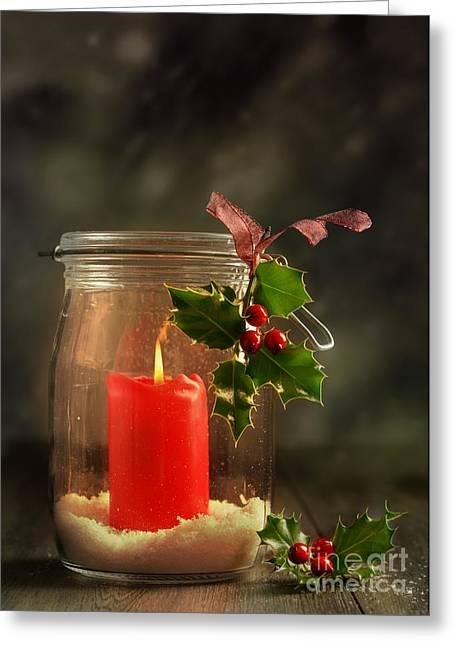 Christmas Candle Greeting Card by Amanda Elwell