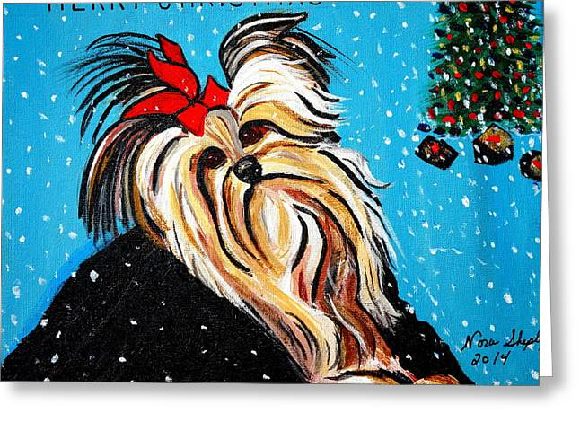 Greeting Card featuring the painting Christmas Card by Nora Shepley
