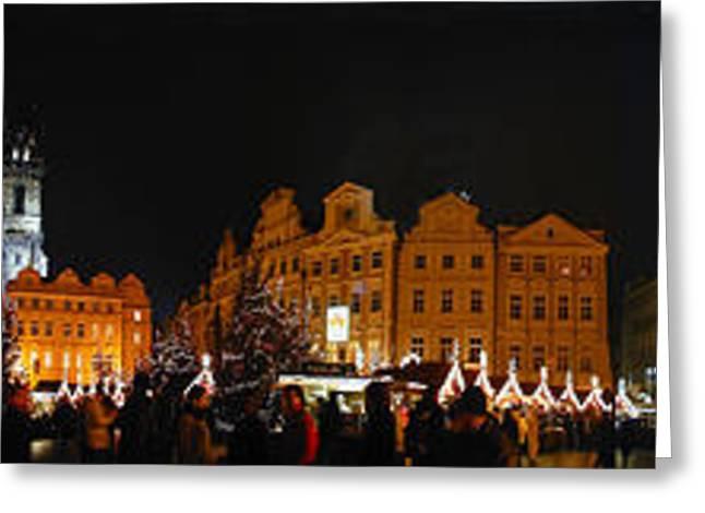 Christmas Market Greeting Card by Gary Lobdell