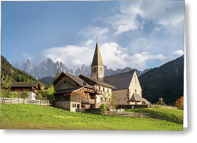 Church Sankt Magdalena In The Villnoess Greeting Card