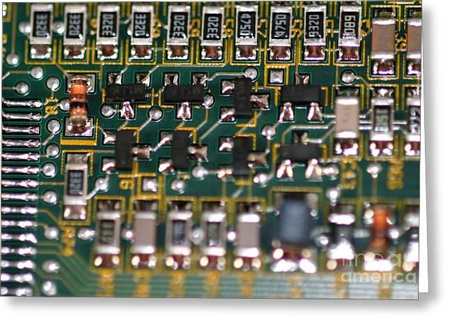 Circuit Board Greeting Card by Henrik Lehnerer