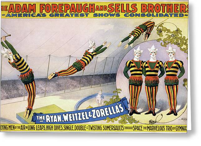 Greeting Card featuring the painting Circus Poster, C1898 by Granger