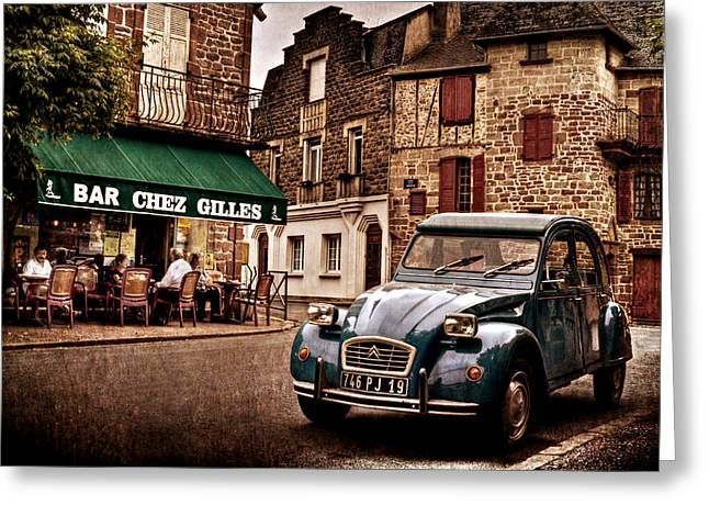 Citroen 2cv In French Village / Meyssac Greeting Card