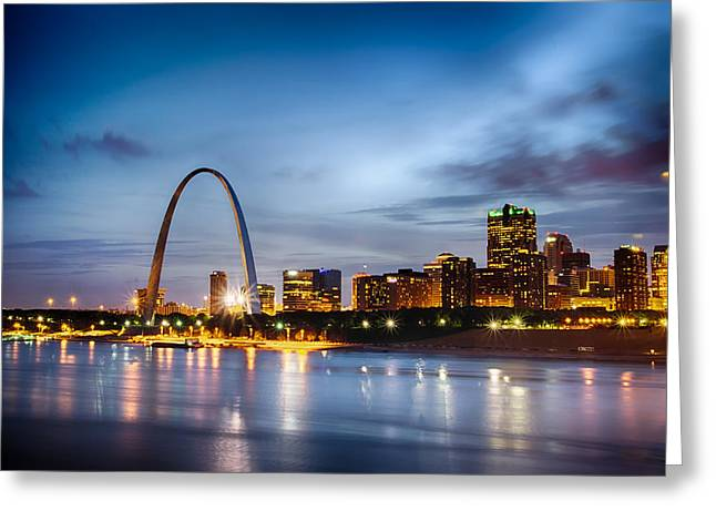City Of St. Louis Skyline. Image Of St. Louis Downtown With Gate Greeting Card by Alex Grichenko