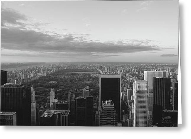 Cityscape At Sunset, Central Park, East Greeting Card by Panoramic Images
