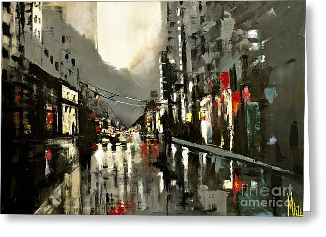 Cityscape Oil Painting Greeting Card