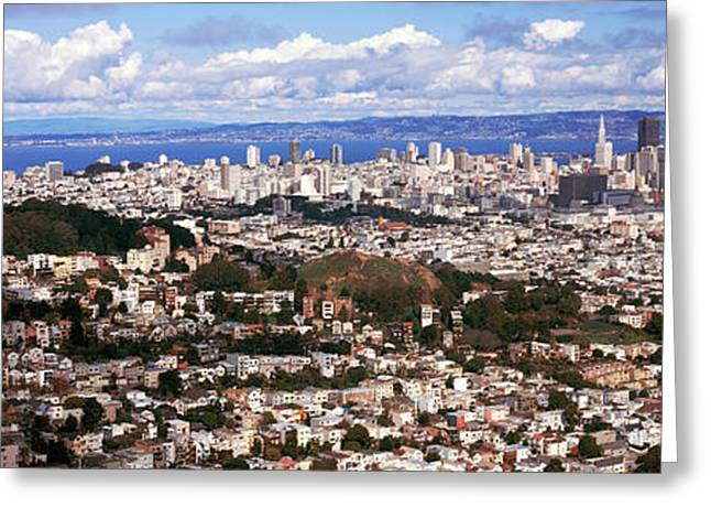 Cityscape Viewed From The Twin Peaks Greeting Card by Panoramic Images