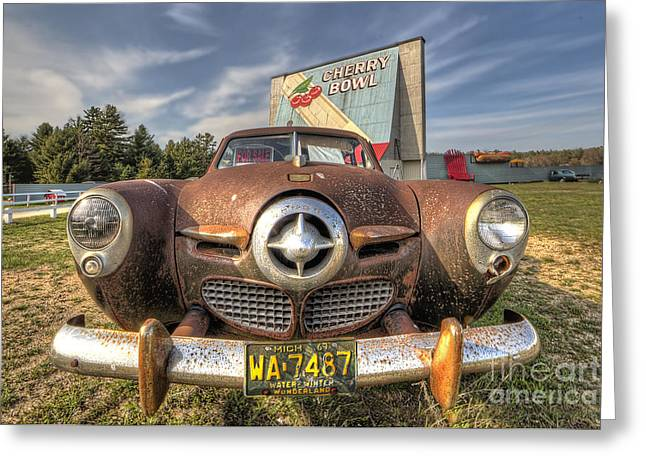 Classic Car At The Drive In Greeting Card