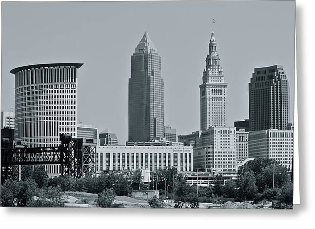 Cleveland Skyline Greeting Card by MB Matthews