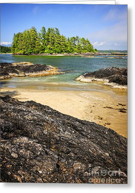Coast Of Pacific Ocean On Vancouver Island Greeting Card by Elena Elisseeva