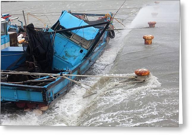 Coastal Storm Surge During Typhoon Usagi Greeting Card