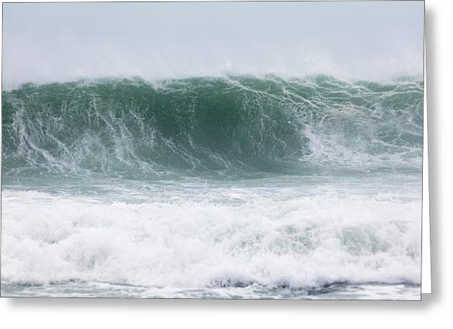 Coastal Wave During Typhoon Usagi Greeting Card by Jim Edds