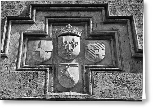 Coat Of Arms At The Street Of Knights Greeting Card by George Atsametakis