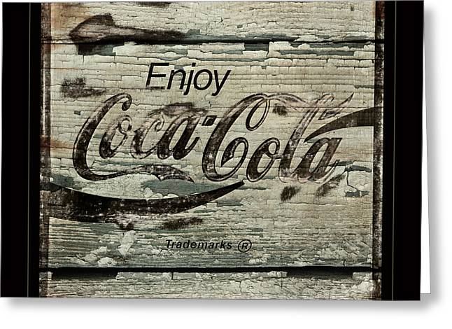 Coca Cola Cracked Paint Sign Greeting Card by John Stephens