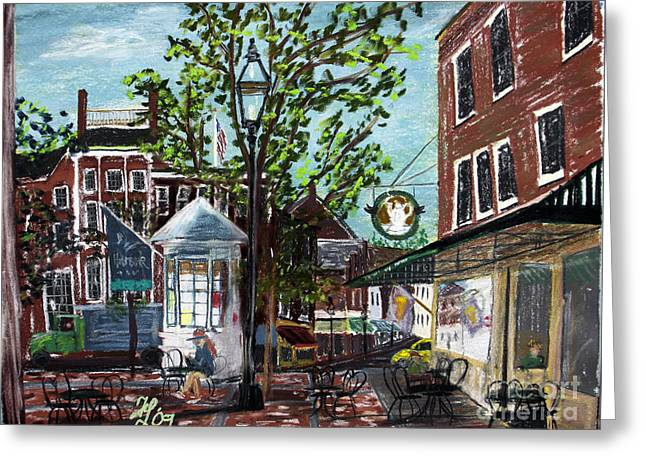 Coffee Break At Market Square Greeting Card