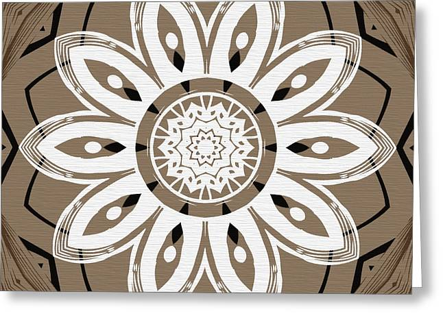 Coffee Flowers 8 Olive Ornate Medallion Greeting Card by Angelina Vick