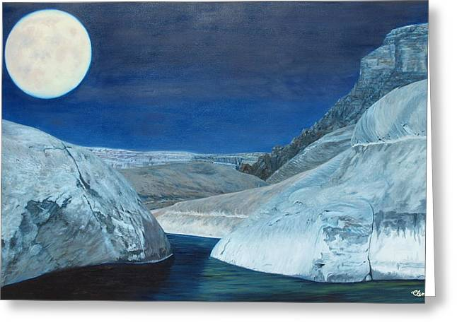 Cold Water Passage Beneath Full Moon Greeting Card