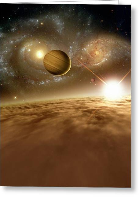 Colliding Galaxies Greeting Card
