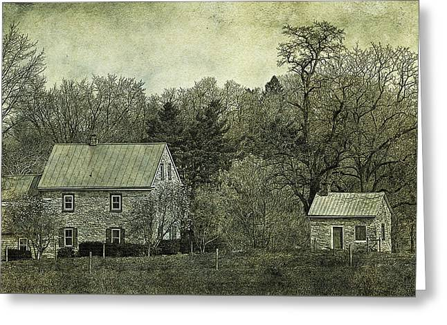 Colonial Farmhouse And Summer Kitchen Retro Style Greeting Card by John Stephens