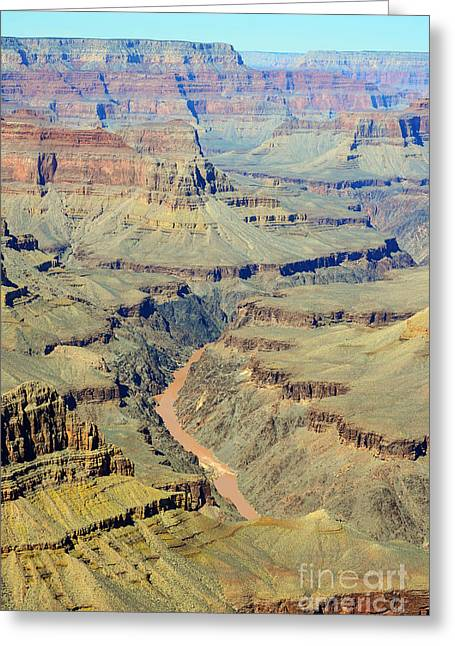 Colorado River Flowing Red Through Inner Gorge Grand Canyon National Park Greeting Card by Shawn O'Brien