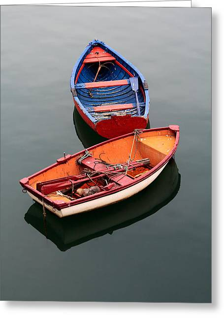 Colorful Boats Greeting Card by Mikel Martinez de Osaba