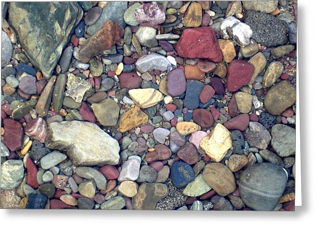Colorful Lake Rocks Greeting Card