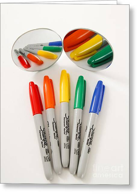 Colorful Markers Greeting Card by Photo Researchers