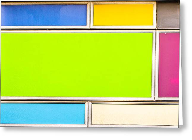 Colorful Panels Greeting Card by Tom Gowanlock