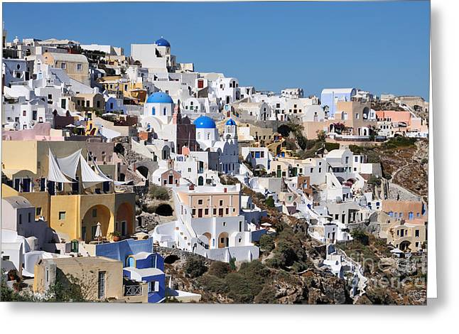Colorful Oia Greeting Card by George Atsametakis