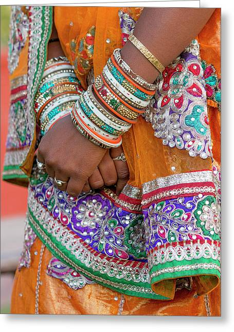 Colorful Wedding Costumes And Sari Greeting Card