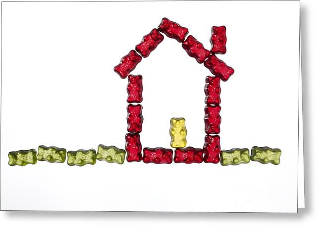 Coloured Jellybabies Formed As A House Greeting Card by Juergen Ritterbach