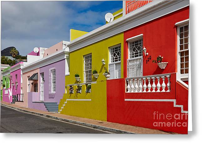 colourful buildings in Bo-Kaap Greeting Card by Juergen Ritterbach
