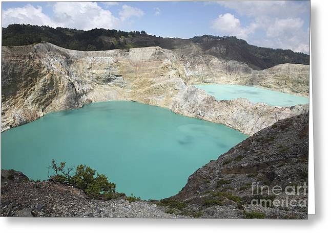 Colourful Crater Lakes Of Kelimutu Greeting Card by Richard Roscoe