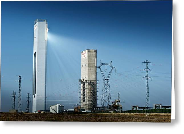 Concentrating Solar Power Plant Greeting Card by Philippe Psaila