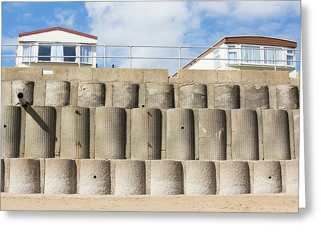 Concrete Sea Defences Greeting Card by Ashley Cooper