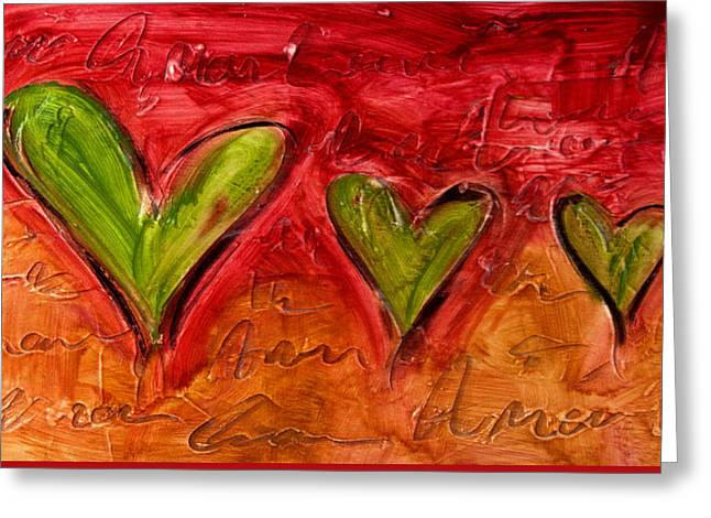 Contemporary Heart Painting Greeting Card by Ivan Guaderrama