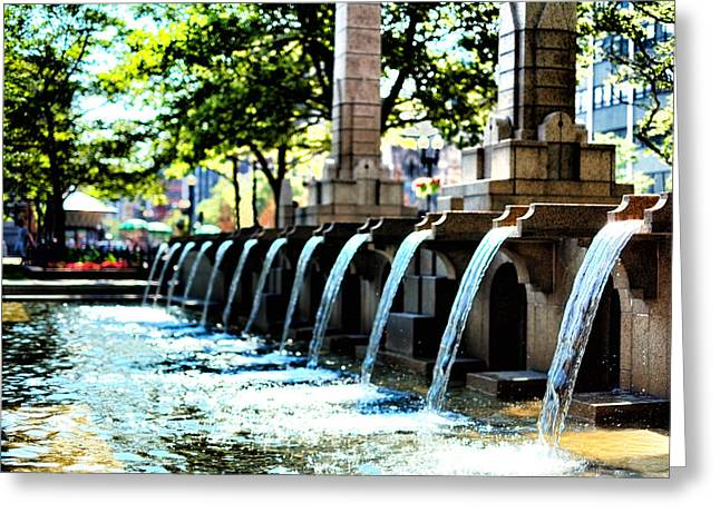Copley Square Fountain In Boston Greeting Card