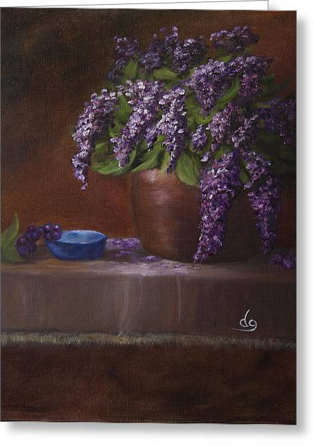 Copper Vase And Lilacs Greeting Card