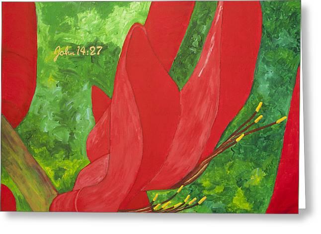 Coral Bean Tree Greeting Card