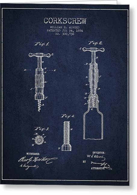 Corkscrew Patent Drawing From 1884 Greeting Card by Aged Pixel