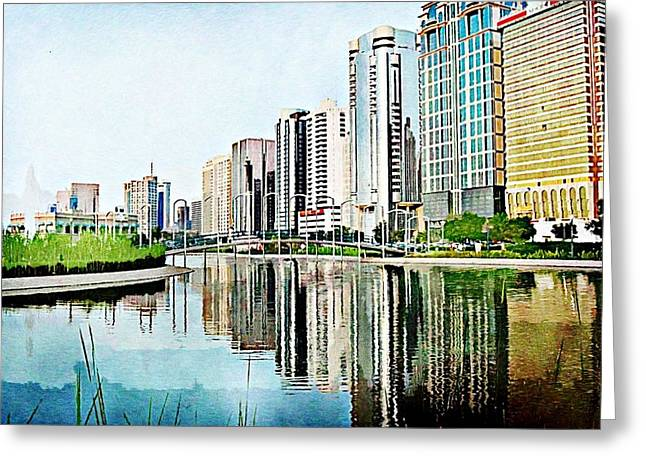 Corniche Gardens Greeting Card by Peter Waters