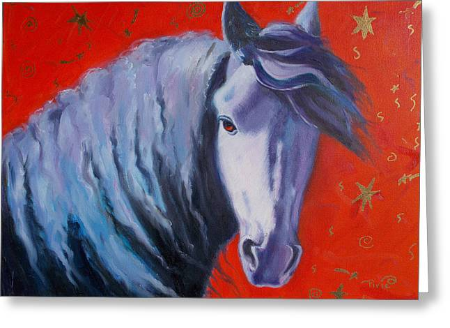Cosmic Horse Greeting Card by Pixie Glore